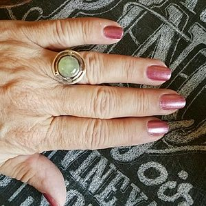 Prehnite Stone Ring Sterling Silver NEW